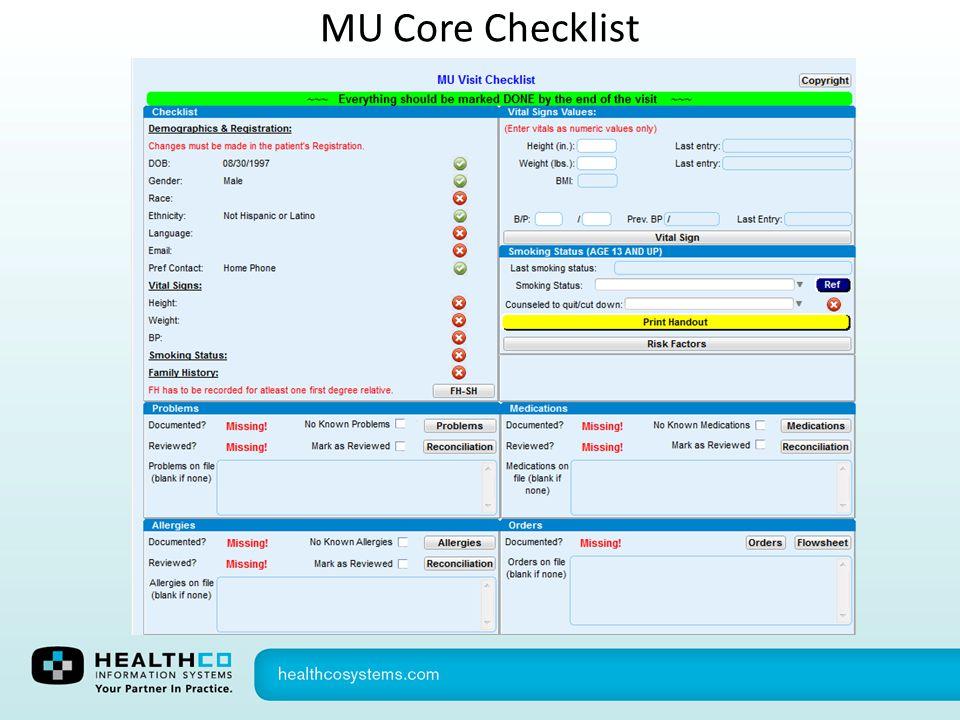 MU Core Checklist