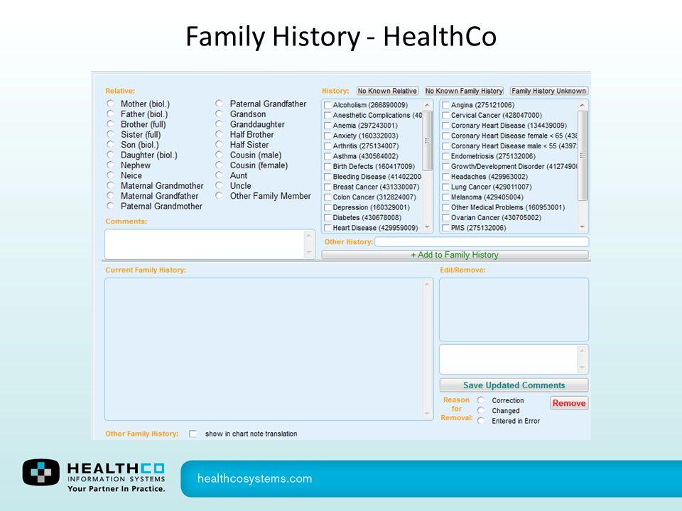 Family History - HealthCo