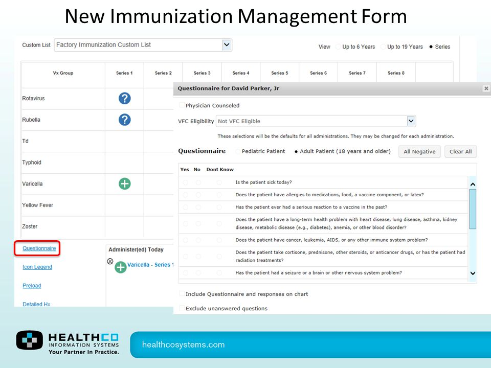 New Immunization Management Form