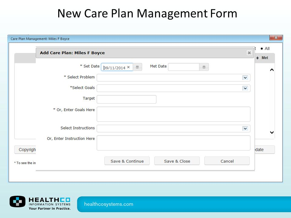 New Care Plan Management Form