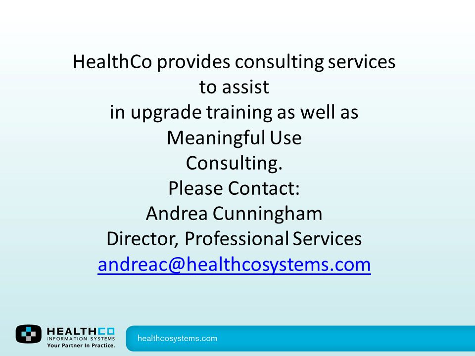 HealthCo provides consulting services to assist