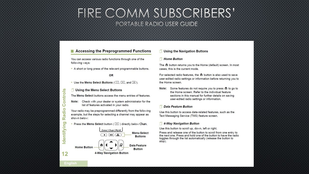 FIRE COMM Subscribers' Portable Radio user guide