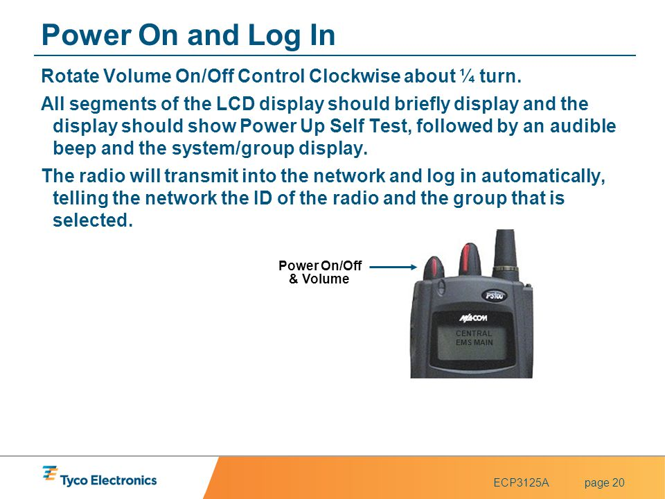 Power On and Log In Rotate Volume On/Off Control Clockwise about ¼ turn.