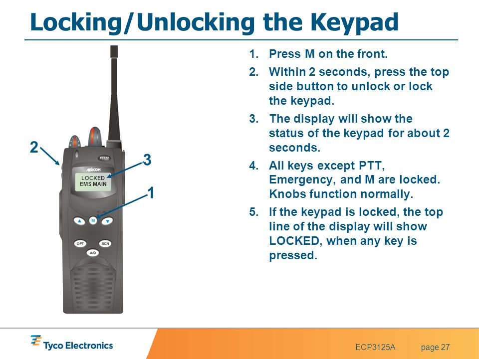 Locking/Unlocking the Keypad