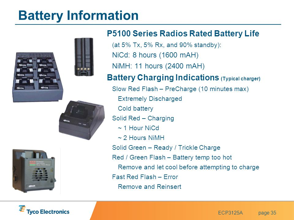 Battery Information P5100 Series Radios Rated Battery Life