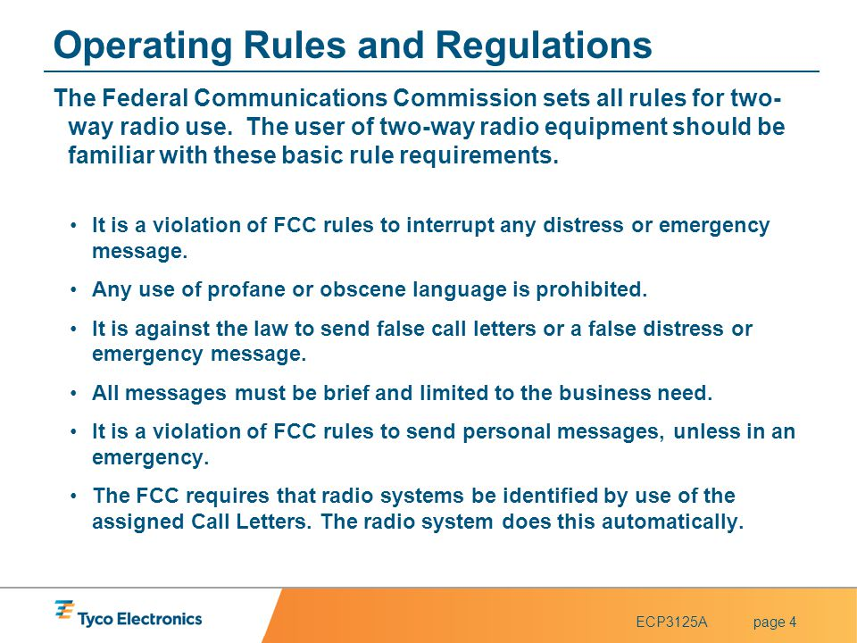 Operating Rules and Regulations