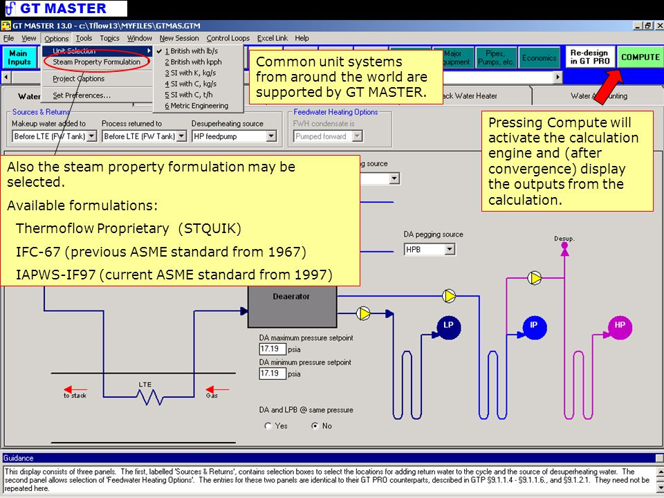Program Options Common unit systems from around the world are supported by GT MASTER.