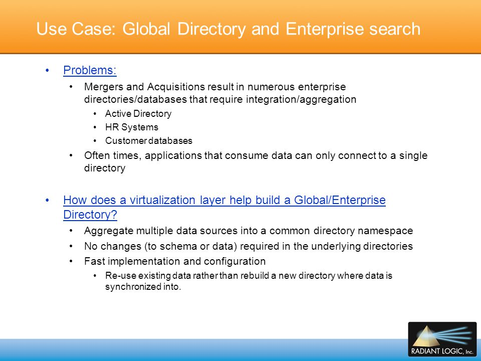 Use Case: Global Directory and Enterprise search