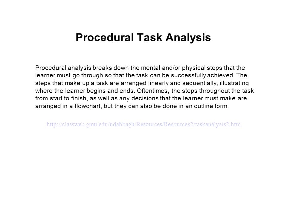 Procedural Task Analysis