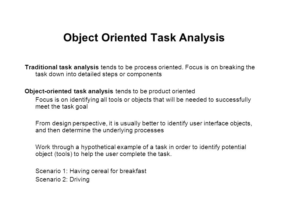 Object Oriented Task Analysis
