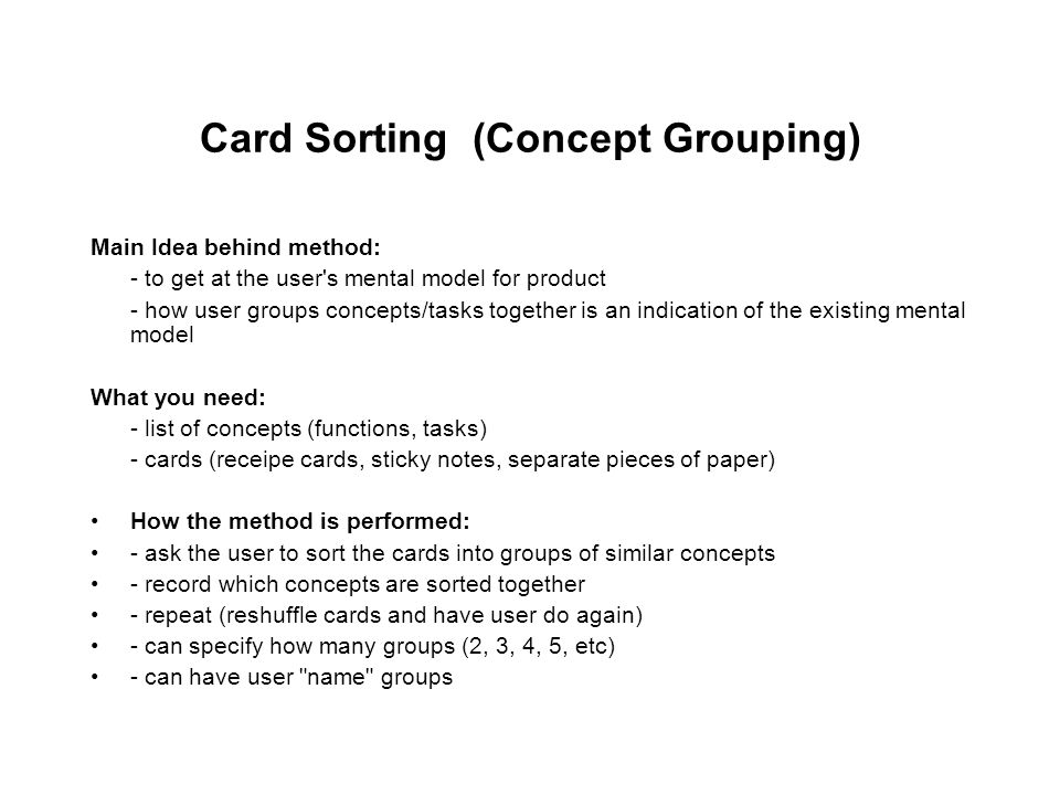 Card Sorting (Concept Grouping)