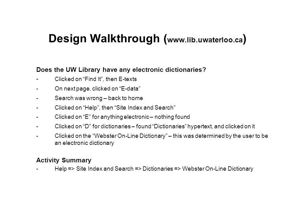 Design Walkthrough (www.lib.uwaterloo.ca)