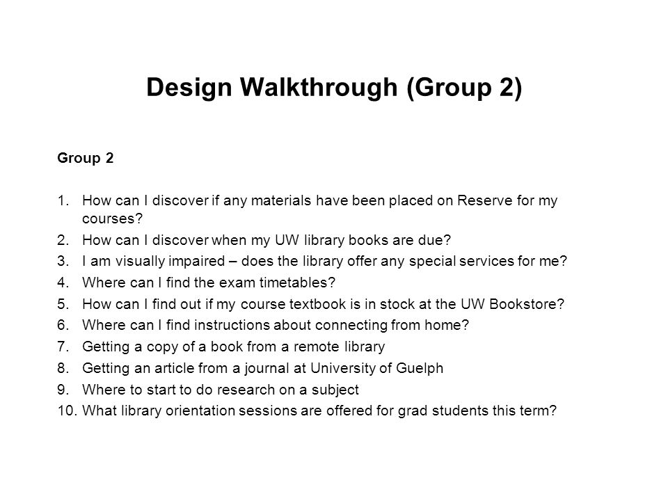 Design Walkthrough (Group 2)