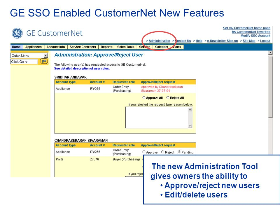 GE SSO Enabled CustomerNet New Features
