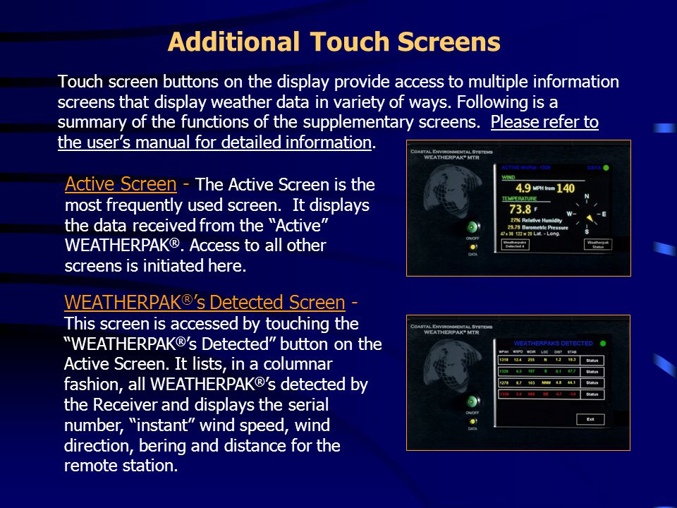 Additional Touch Screens