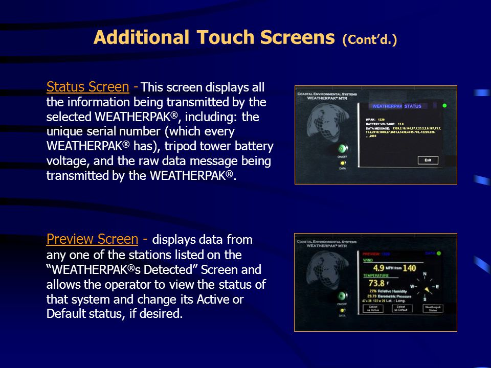 Additional Touch Screens (Cont'd.)