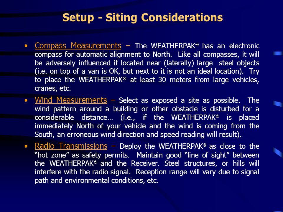 Setup - Siting Considerations