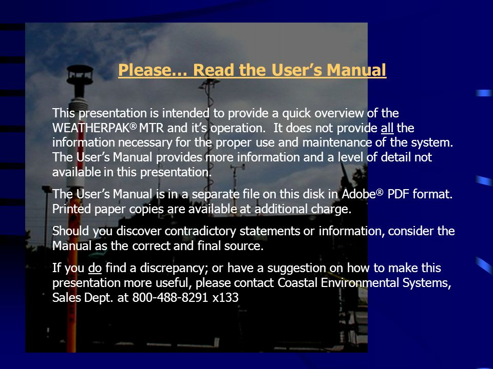 Please… Read the User's Manual
