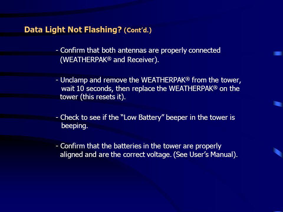 Data Light Not Flashing (Cont'd.)