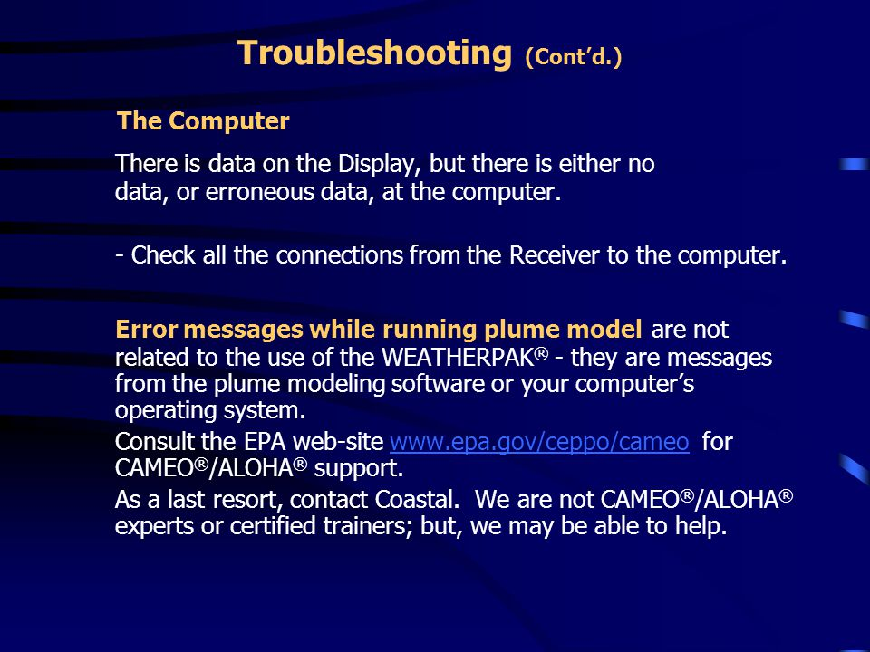 Troubleshooting (Cont'd.)