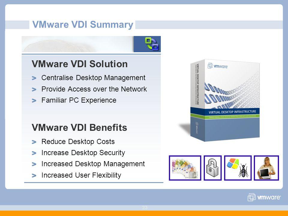 VMware VDI Summary VMware VDI Solution VMware VDI Benefits