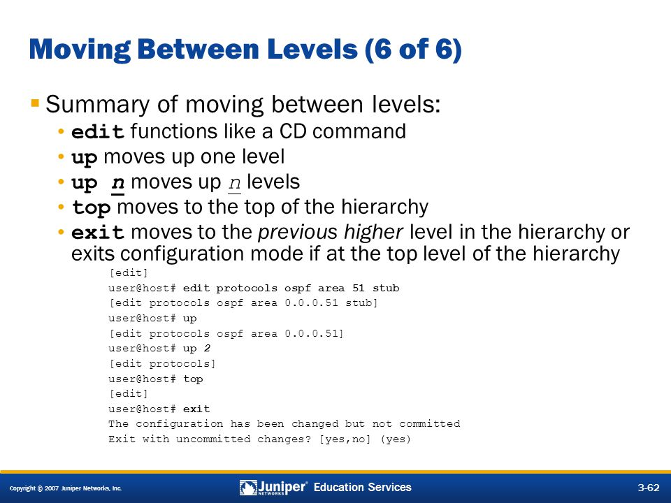 Moving Between Levels (6 of 6)