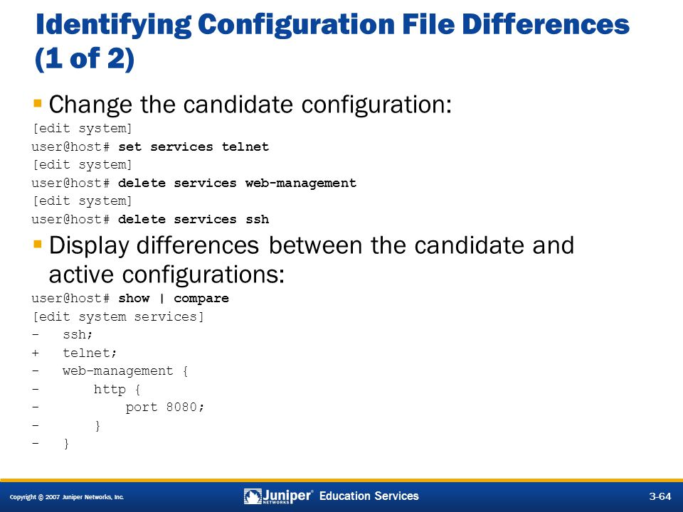 Identifying Configuration File Differences (1 of 2)