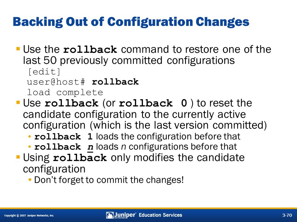 Backing Out of Configuration Changes