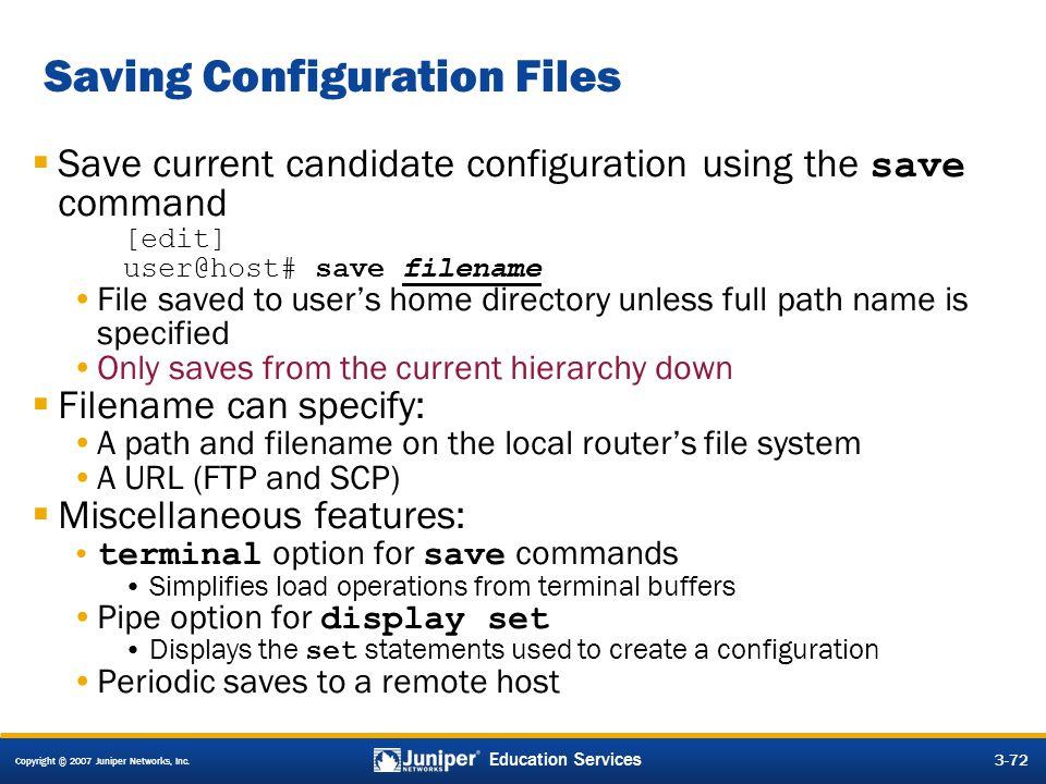 Saving Configuration Files