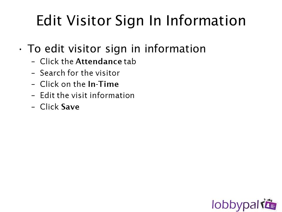 Edit Visitor Sign In Information