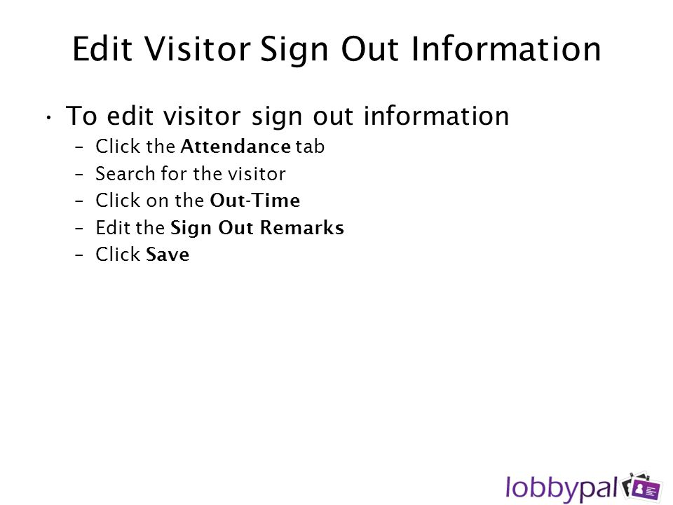 Edit Visitor Sign Out Information