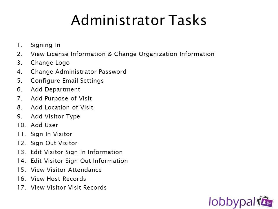 Administrator Tasks Signing In