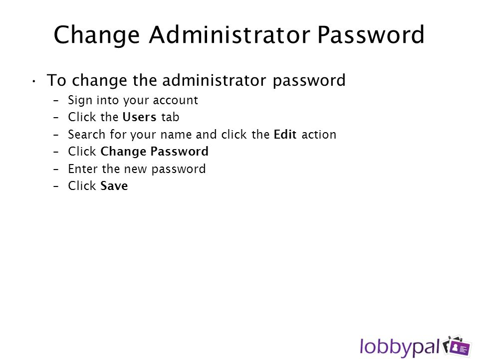 Change Administrator Password
