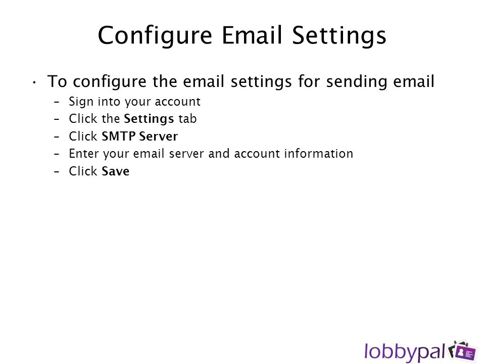 Configure Email Settings