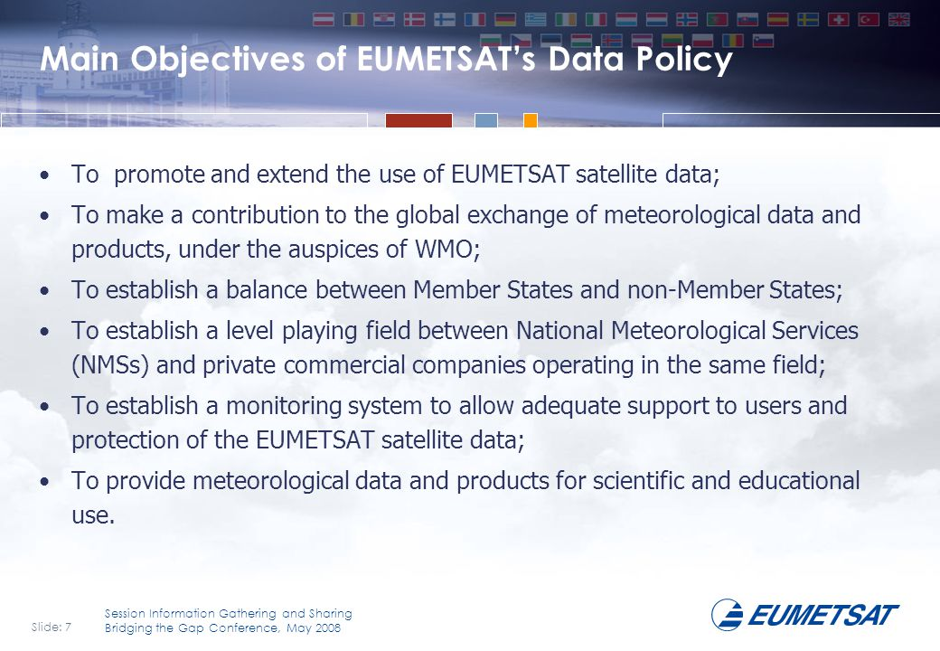 Main Objectives of EUMETSAT's Data Policy