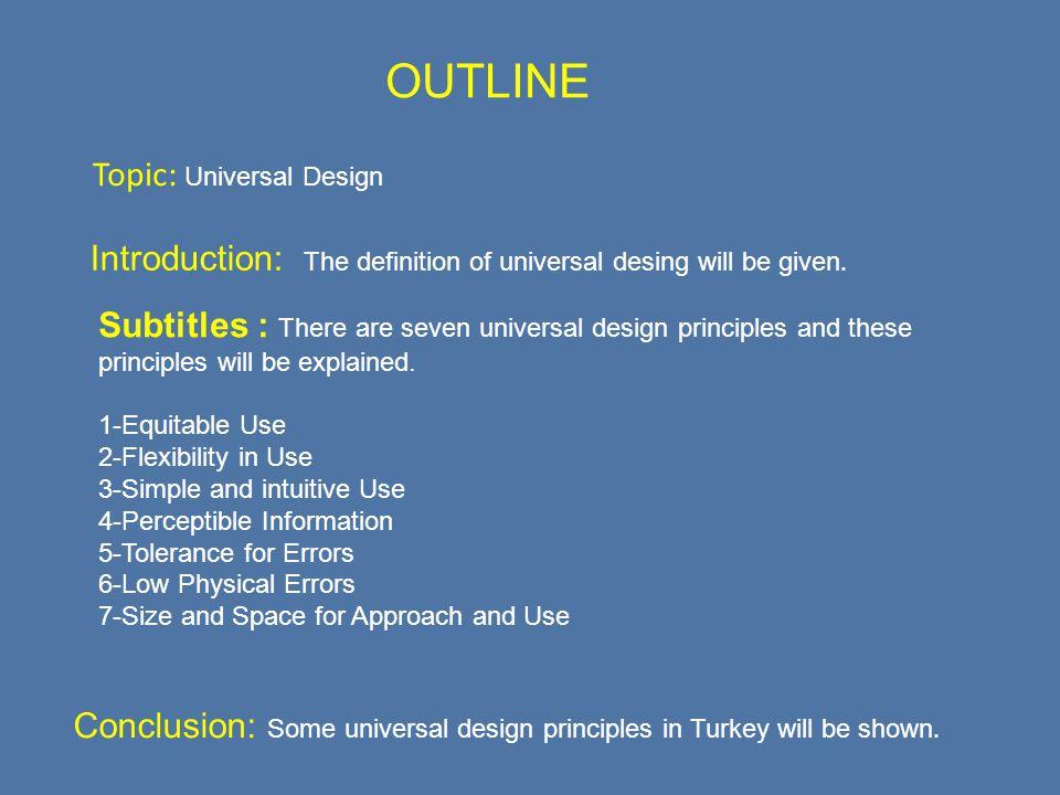 Topic: Universal Design