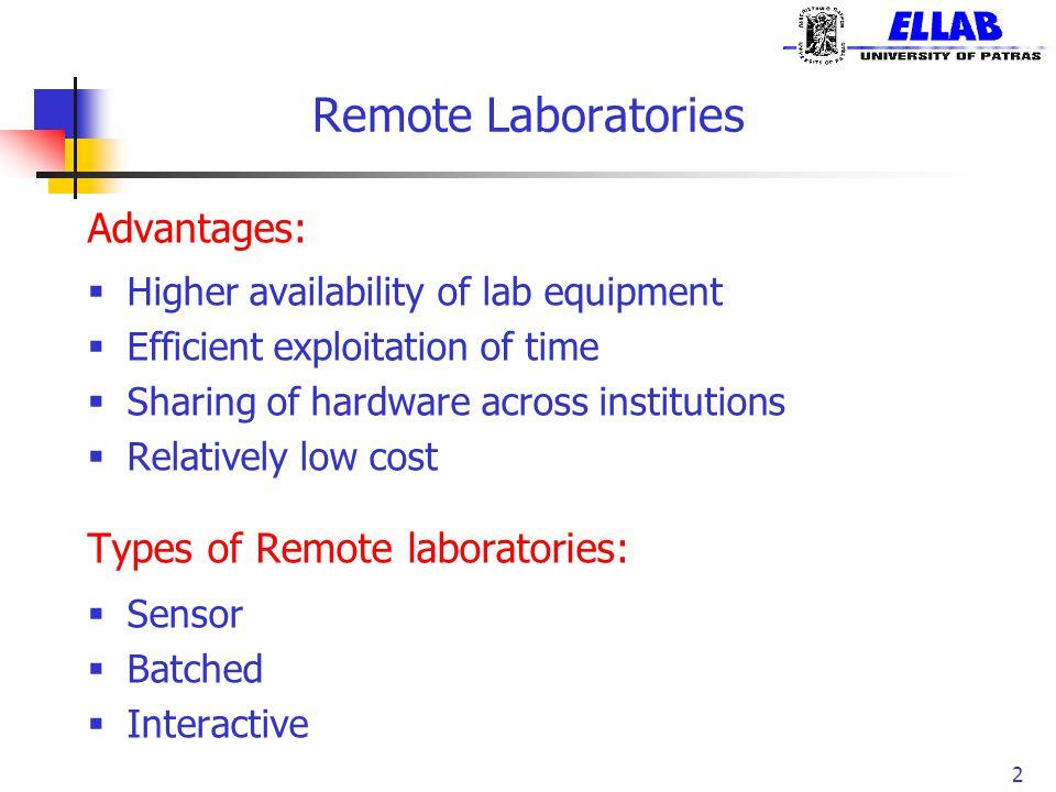 Remote Laboratories Advantages: Types of Remote laboratories:
