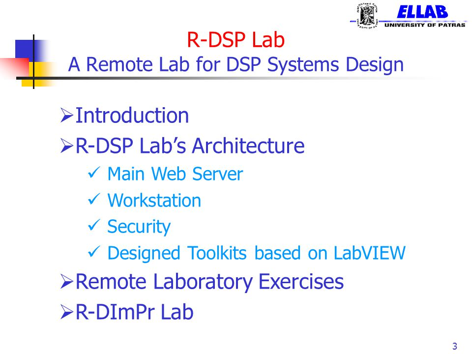 R-DSP Lab A Remote Lab for DSP Systems Design