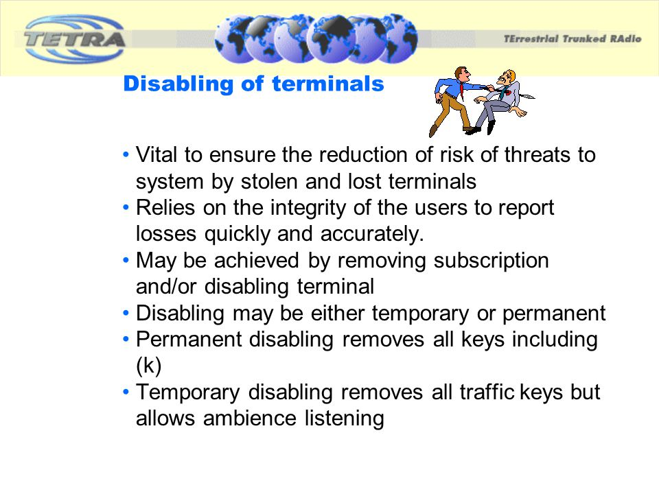 Disabling of terminals