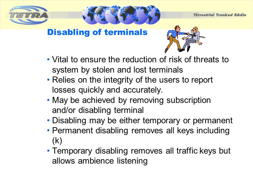 Disabling of terminals
