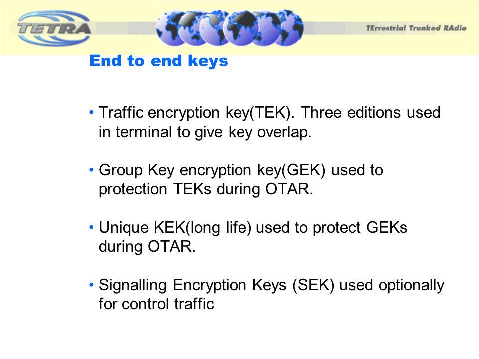 Group Key encryption key(GEK) used to protection TEKs during OTAR.
