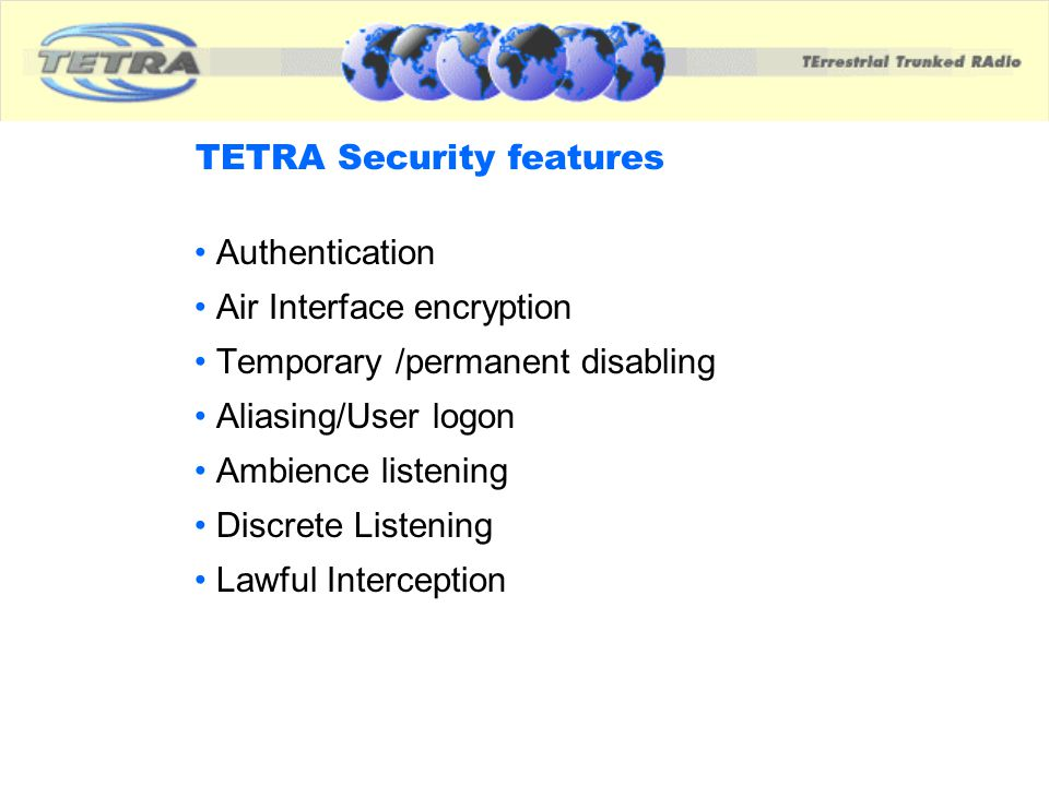 TETRA Security features