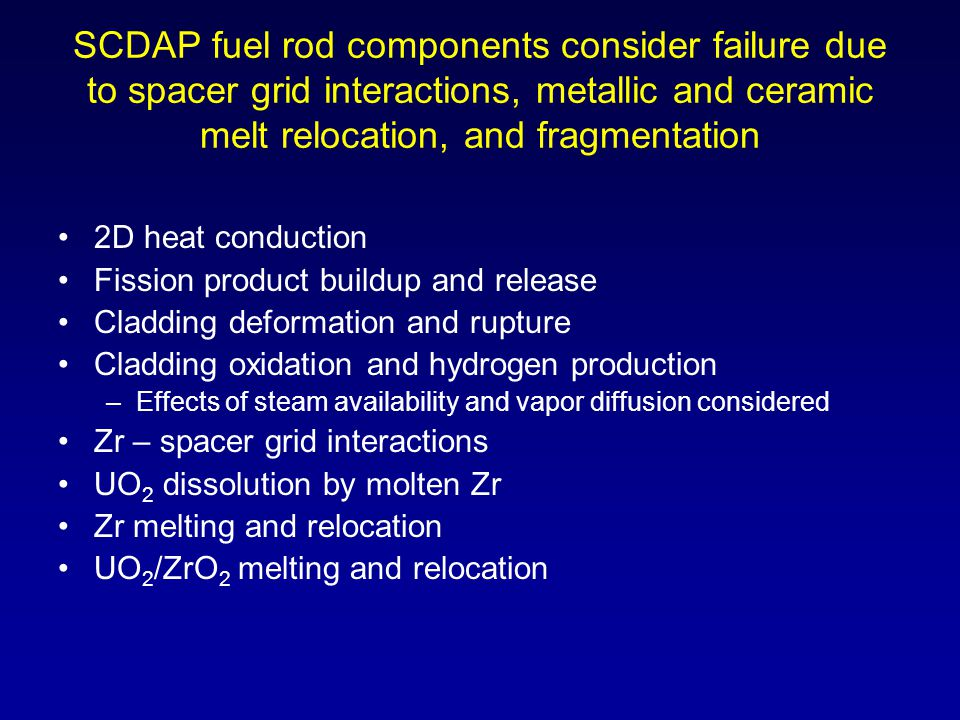 SCDAP fuel rod components consider failure due to spacer grid interactions, metallic and ceramic melt relocation, and fragmentation