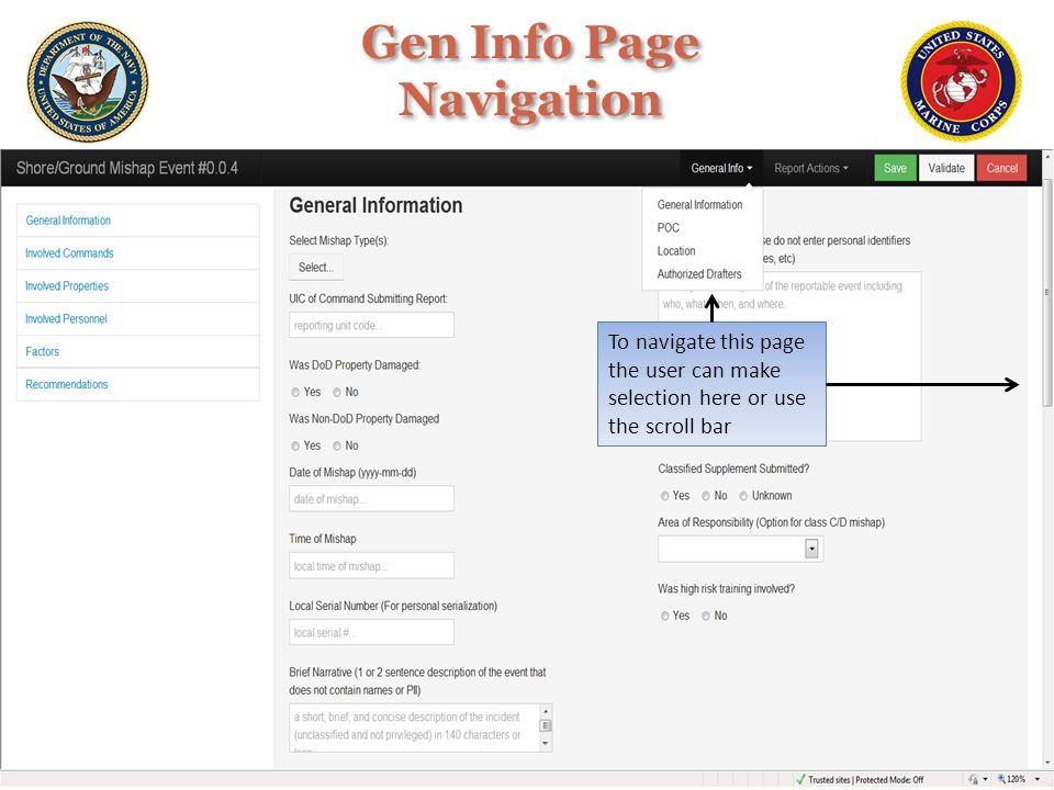 Gen Info Page Navigation