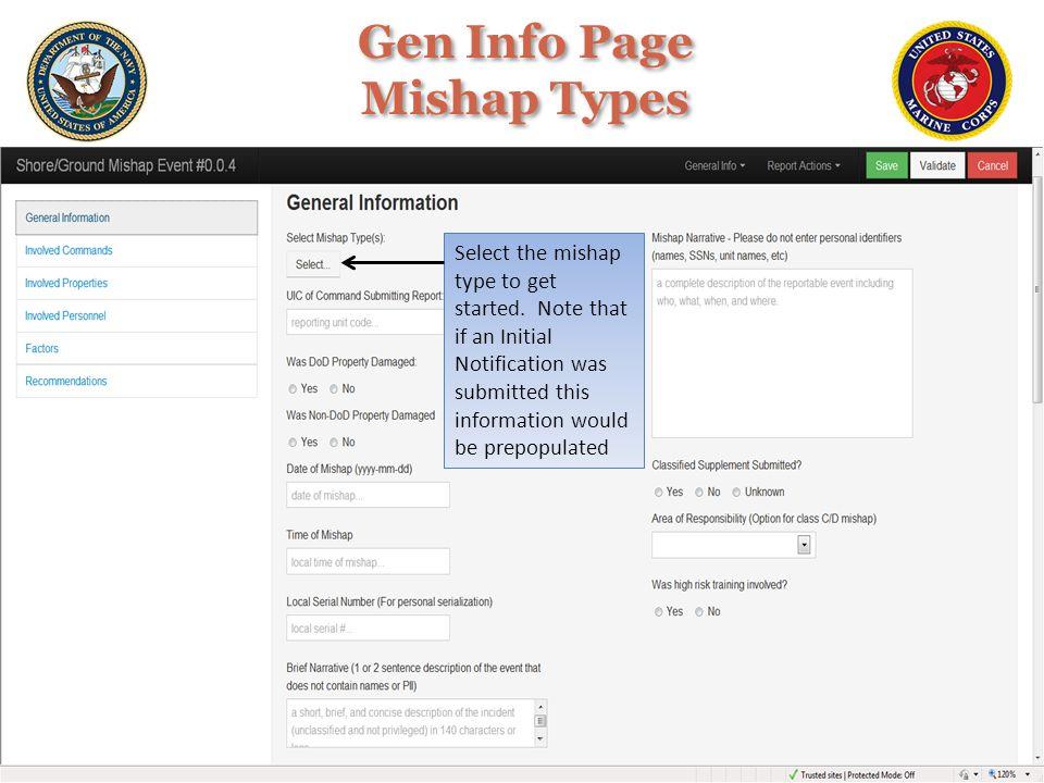 Gen Info Page Mishap Types