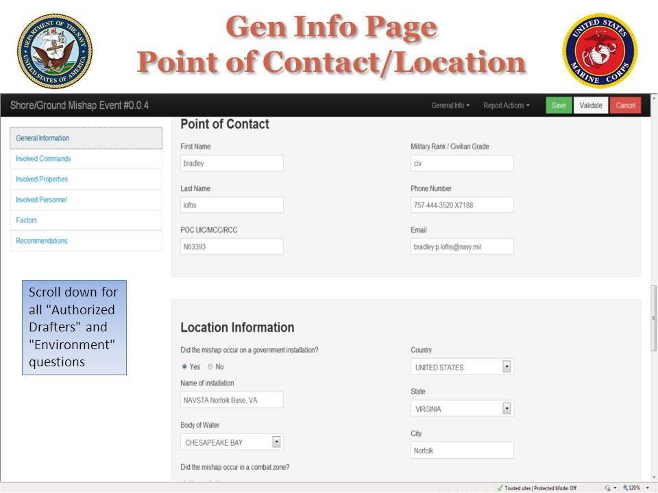 Gen Info Page Point of Contact/Location