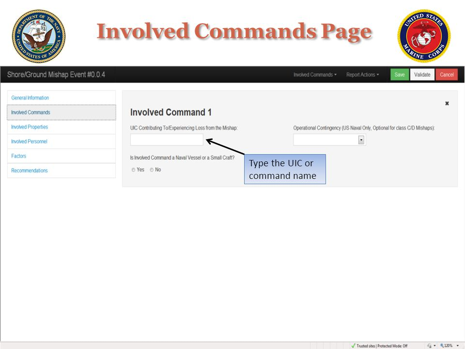 Involved Commands Page