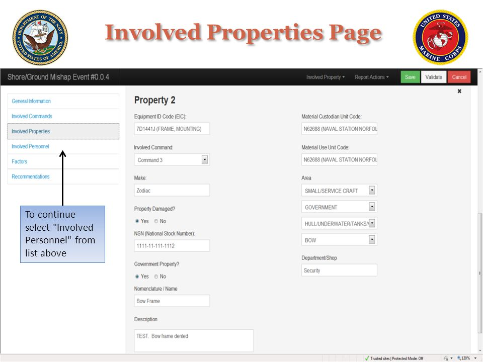 Involved Properties Page