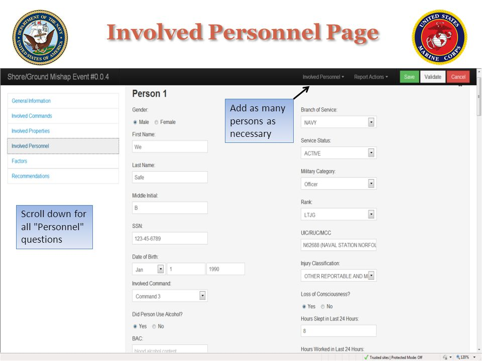 Involved Personnel Page