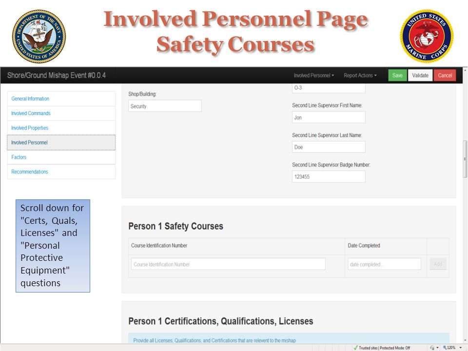 Involved Personnel Page Safety Courses